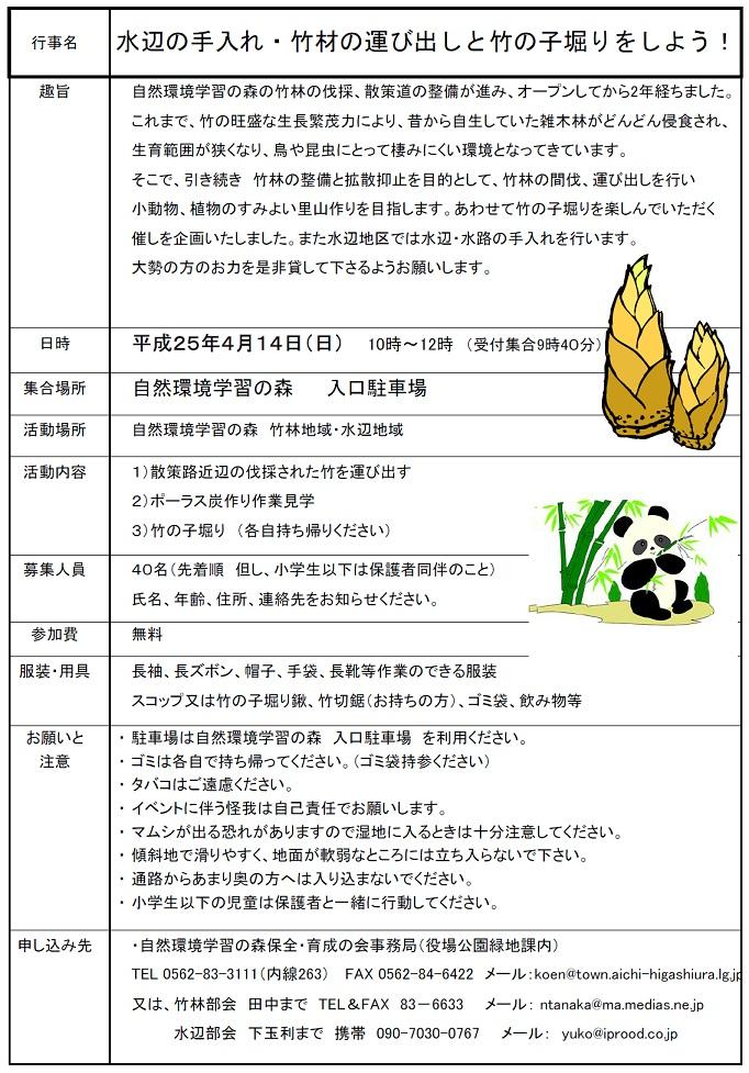 Gakusyuunomori20130414takenoko